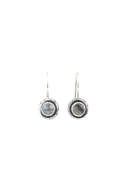 Labradorite Round Hook Silver Earrings