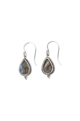 Labradorite Droplets Teardrop Silver Earrings