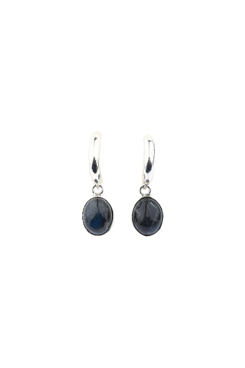 Half Hoops Oval Labradorite Silver Earrings