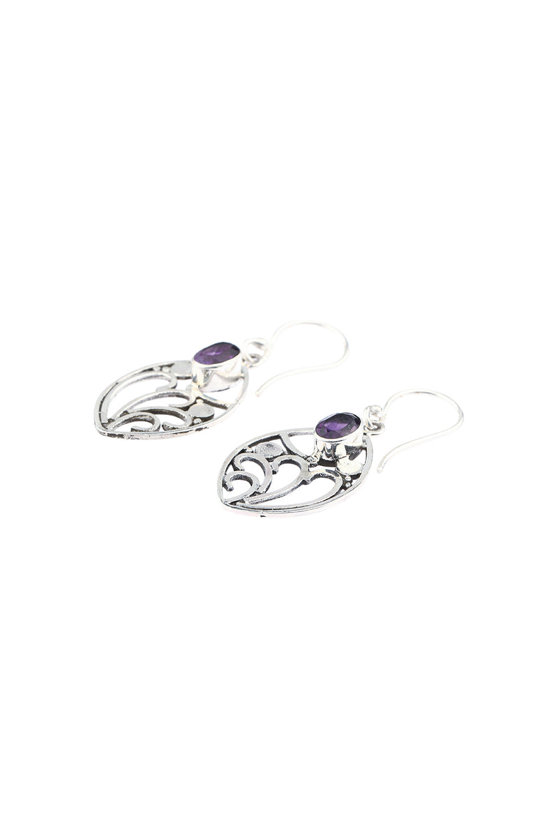 Amethyst Swirls Droplet Silver Earrings