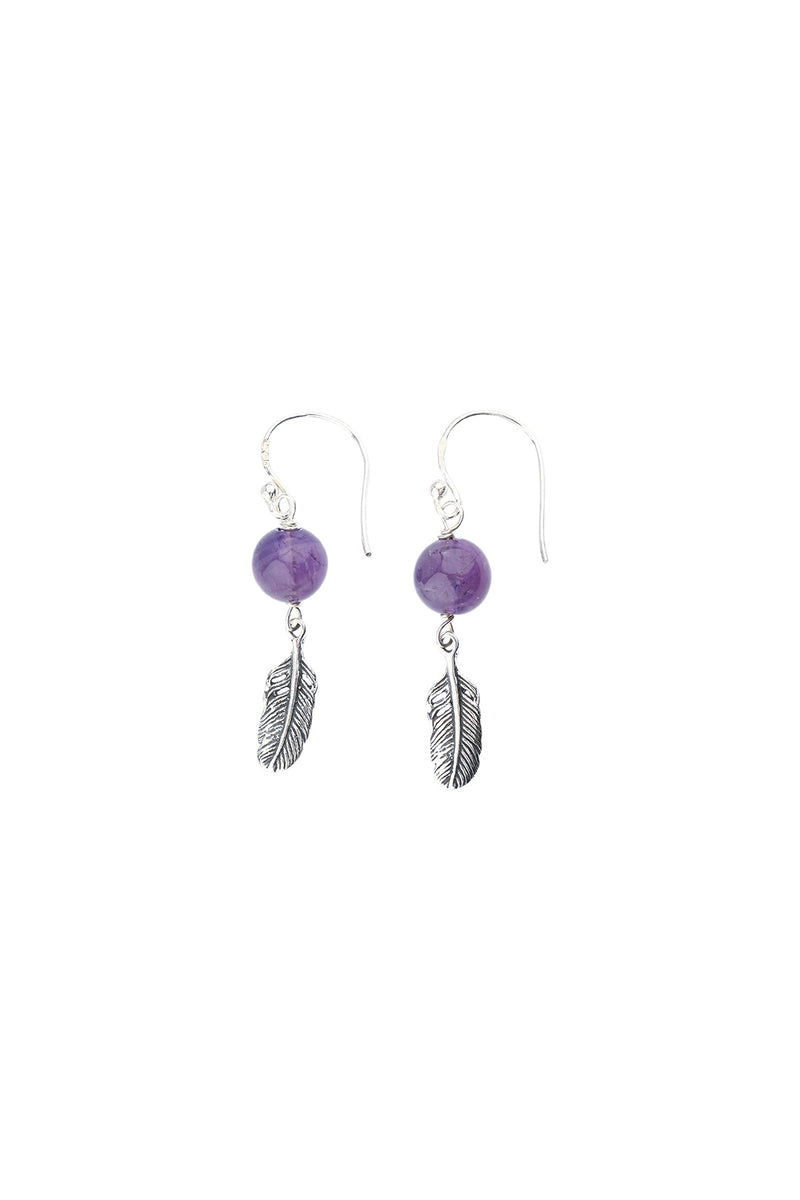 Amethyst Feather Beads Silver Earrings
