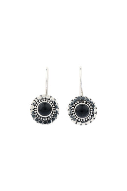 Black Onyx Wide Casing Silver Earrings