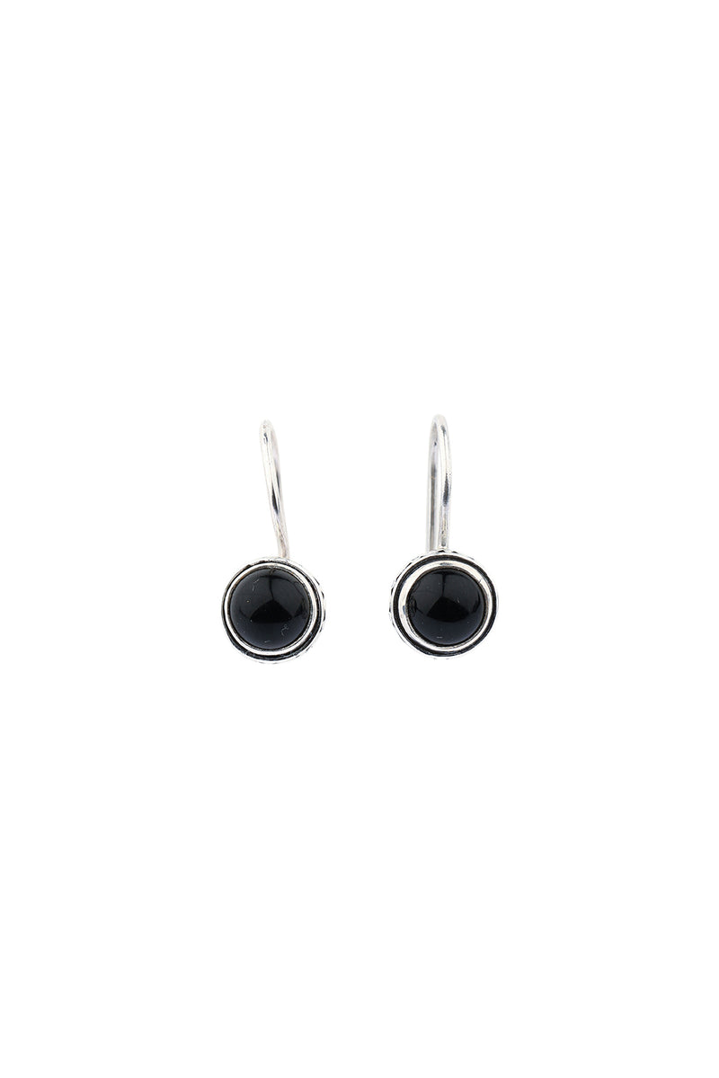 Black Onyx Round Hook Silver Earrings
