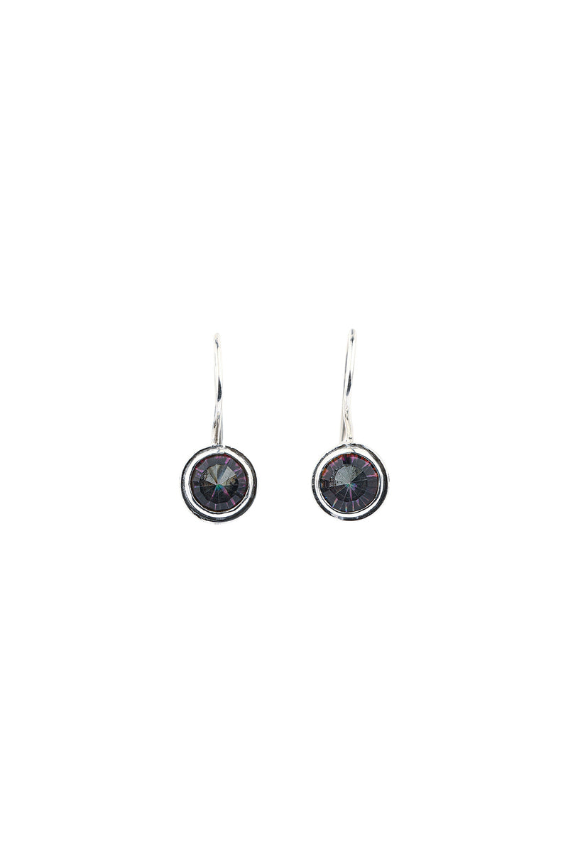Mystic Quartz Round Hook Silver Earrings