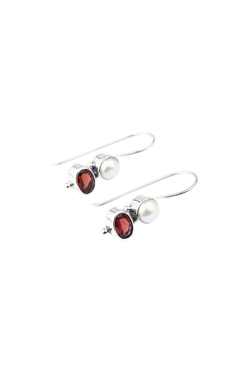 Freshwater Pearl & Garnet Droplet Silver Earrings