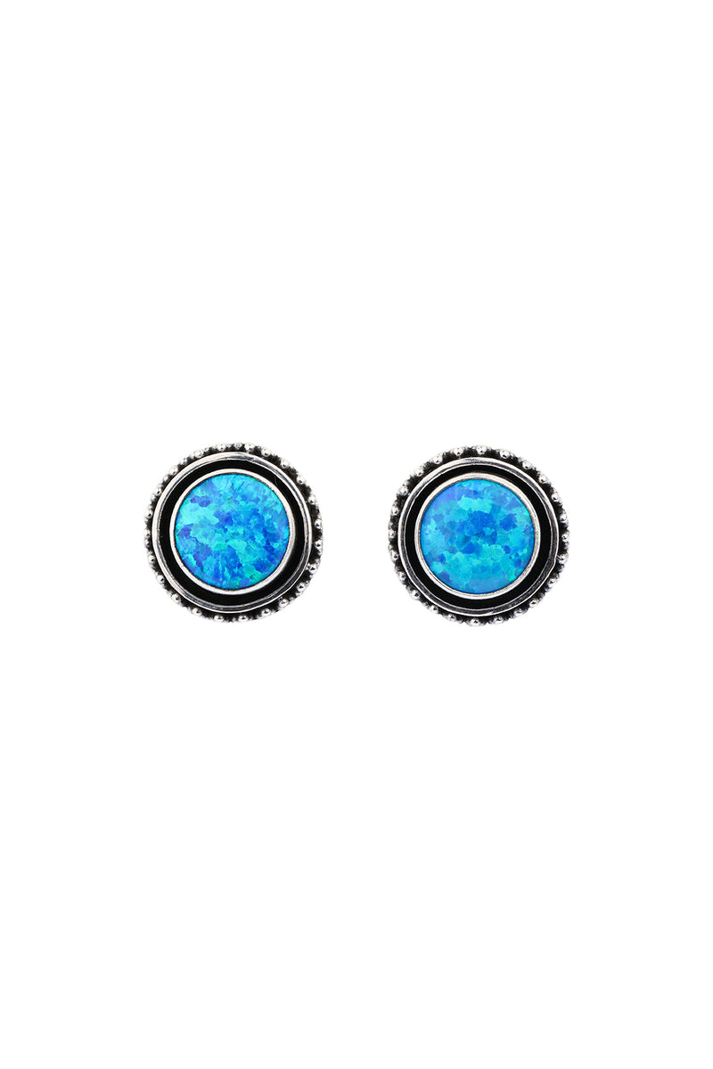 Opalite Tribal Round Stud Silver Earrings