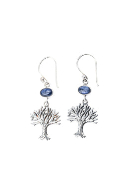 Kyanite Oval Tree of Life Silver Earrings