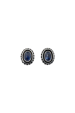 Kyanite Oval Tribal Stud Silver Earrings