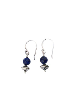 Lapis Round Droplet Silver Earrings
