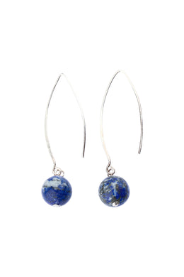 Lapis Round Thread Silver Earrings