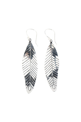 High Shine Feather Silver Earrings