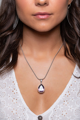 Mystic Quartz Faceted Teardrop Silver Pendant