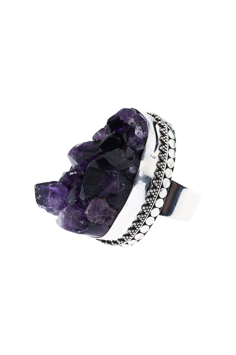 Amethyst Raw Statement Silver Ring