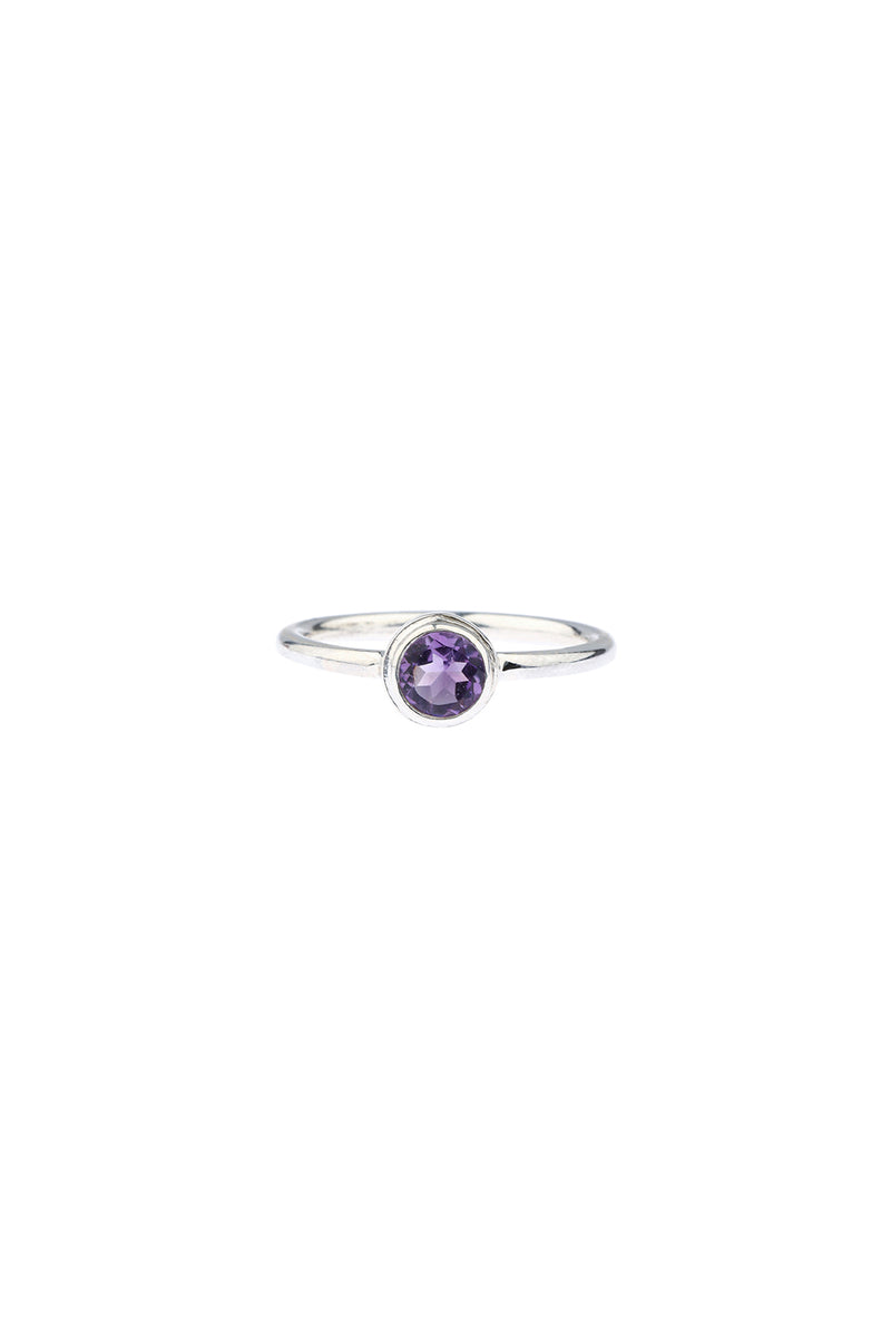 Amethyst Simple Silver Ring