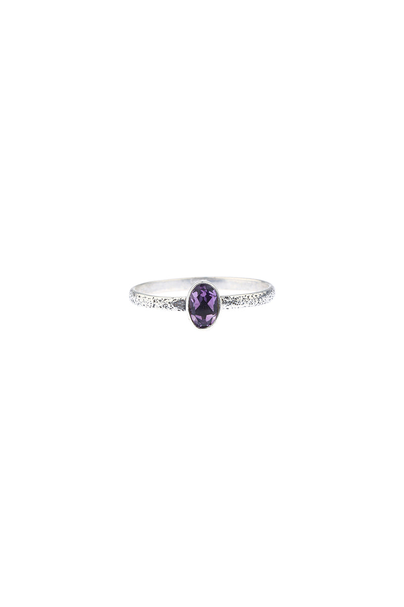 Amethyst Textured Stacker Silver Ring