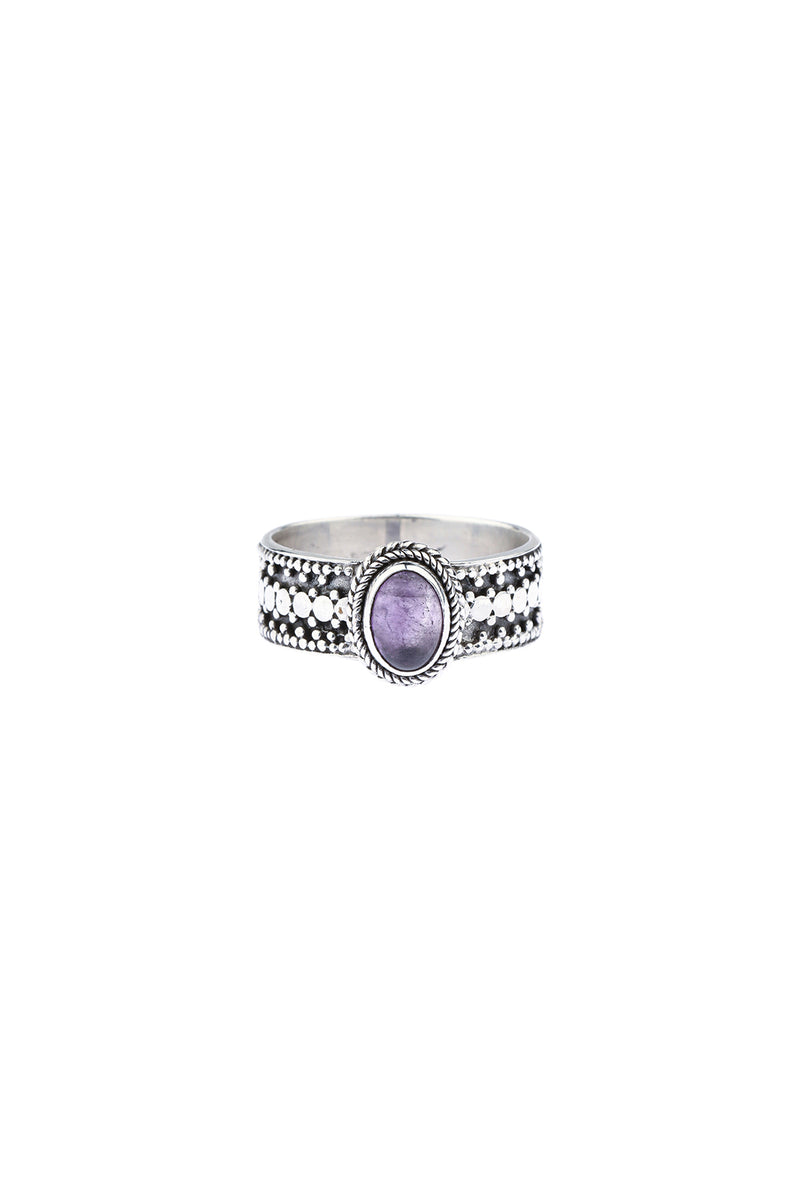 Amethyst Wide Band Silver Ring