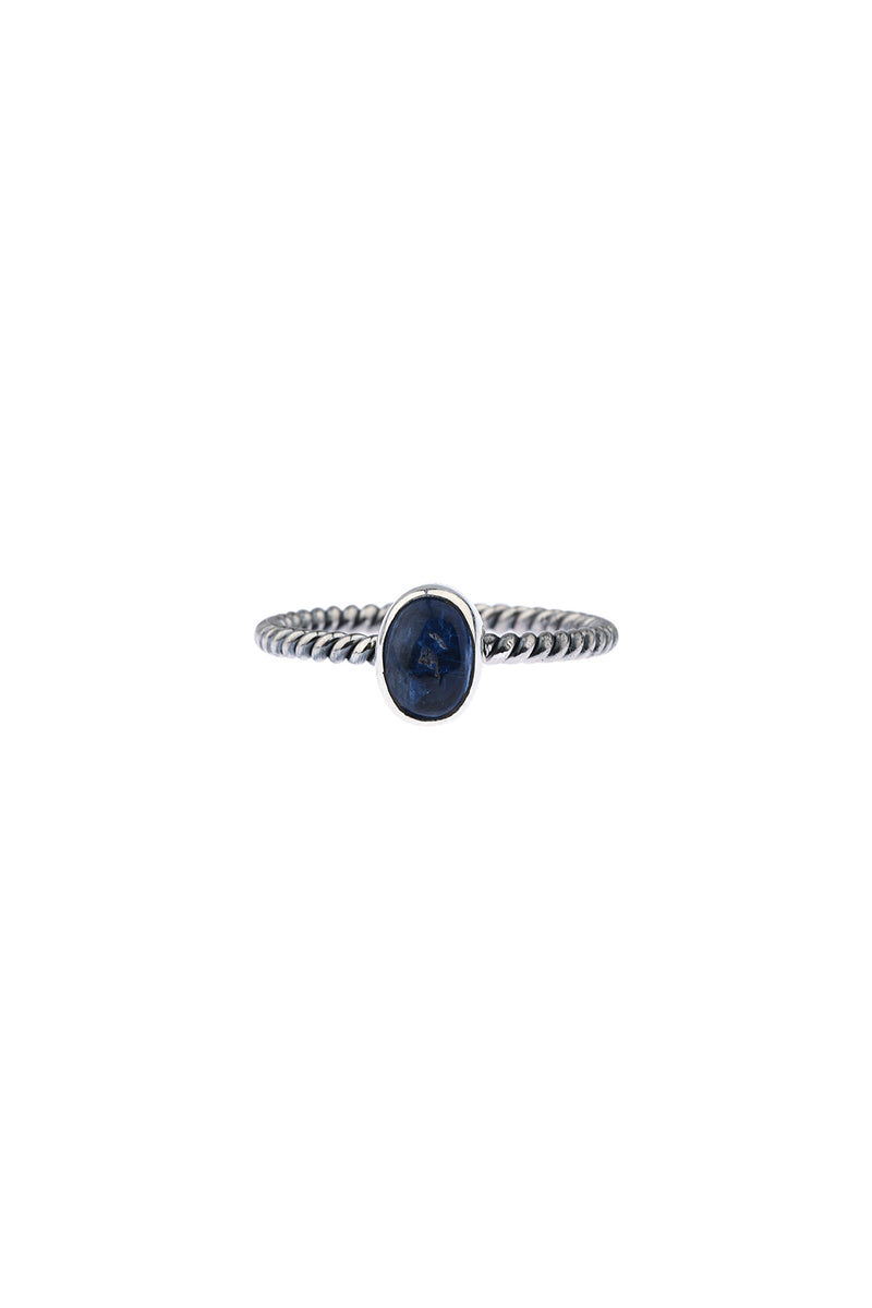 Kyanite Twist Band Silver Ring