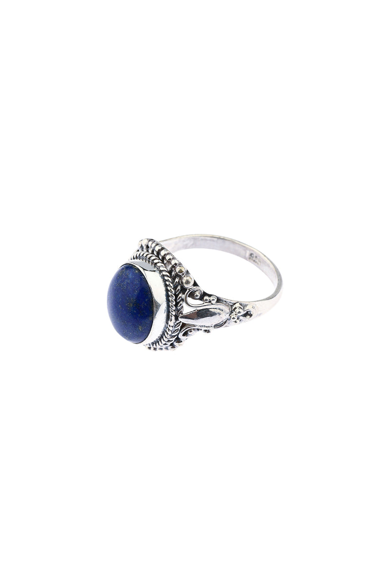 Lapis Tribal Detail Silver Ring