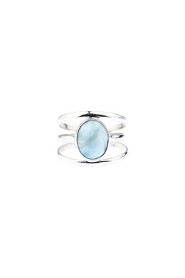Larimar Three Line Round Silver Ring