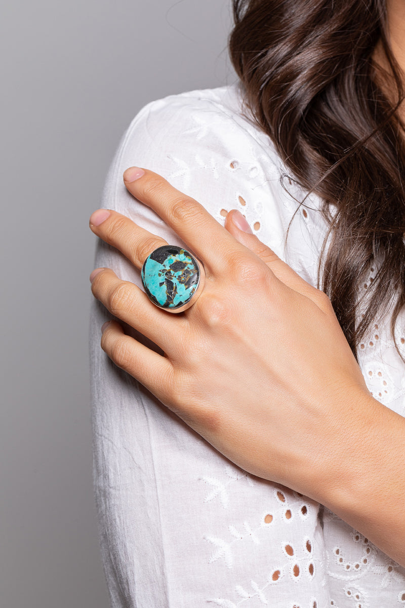 Turquoise Raw Simple Silver Ring