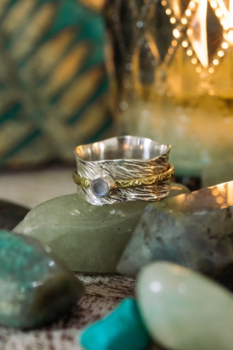Moonstone Brushed Silver Spinning Ring