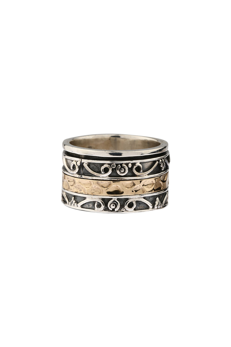 Swirls Pebbled Silver Spinning Ring