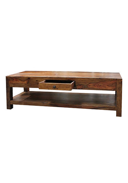 Tiered Acacia & Walnut Coffee Table with Drawer