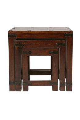 Set of 3 Acacia & Walnut Nesting Tables