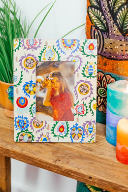 Abstract Floral Painted Photo Frame