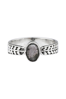 Labradorite Vine Band Silver Ring