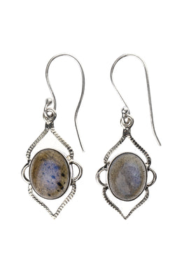 Labradorite Droplet Silver Earrings