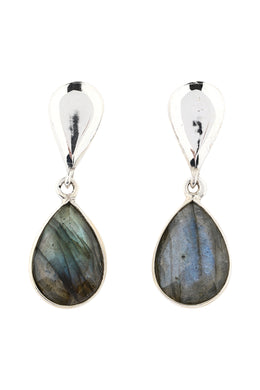 Teardrop Reflection Labradorite & Silver Earrings