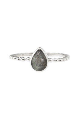 Labradorite Teardrop Dot Band Silver Ring