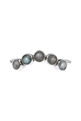Curved Five Stone Labradorite Silver Ring