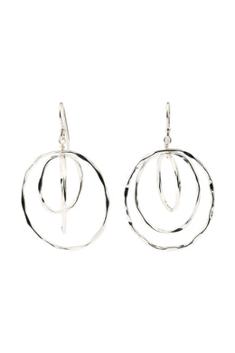 Irregular Spinning Rings Silver Earrings