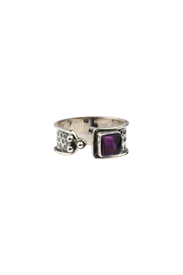 Square Amethyst Open Silver Ring