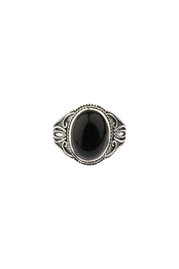 Oval Black Onyx Filigree Silver Ring