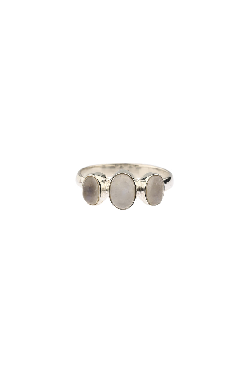Three Moonstone Silver Ring