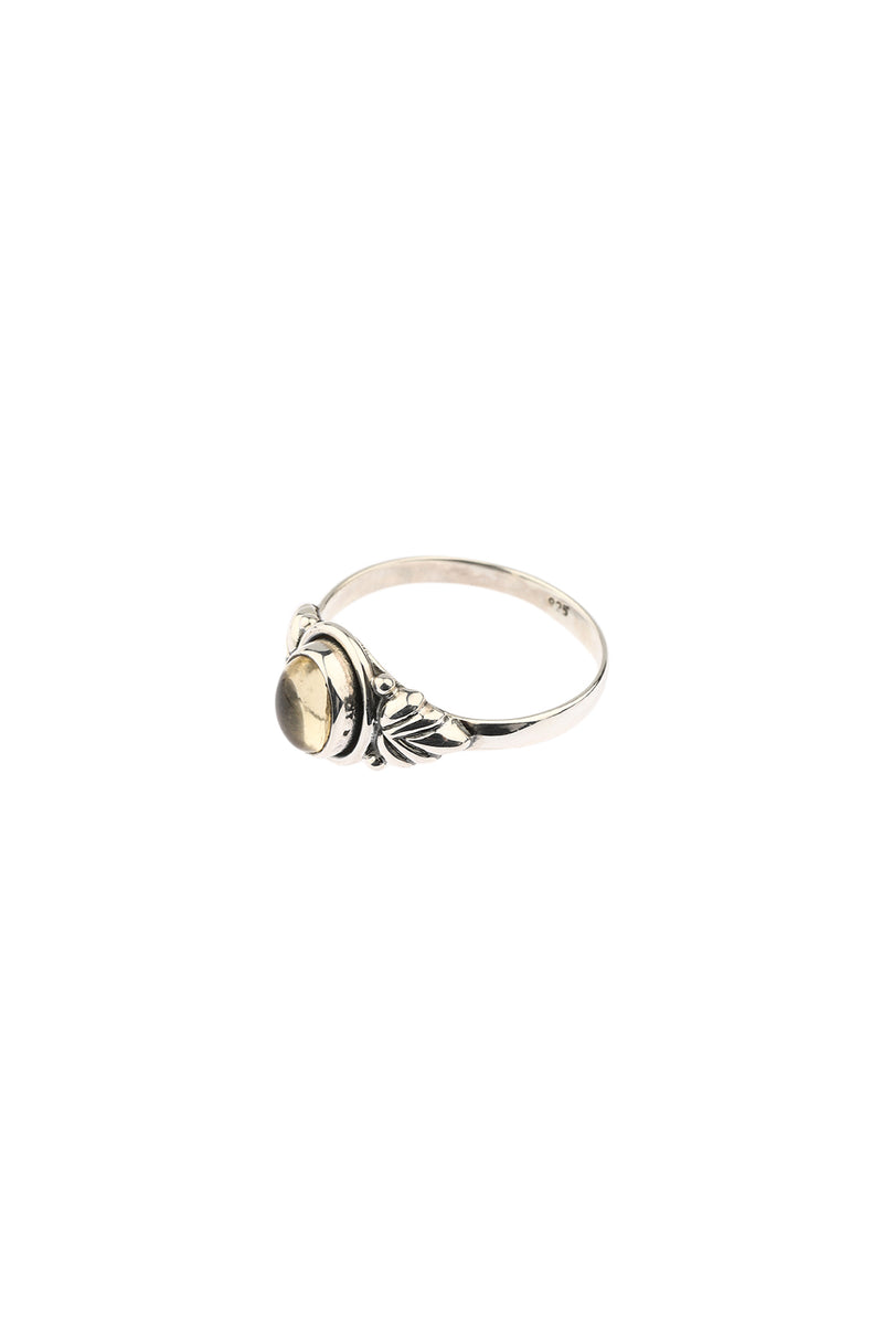 Oval Citrine Leaf Silver Ring