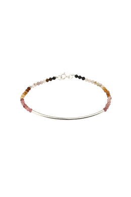 Tourmaline Beaded Curve Silver Bar Bracelet