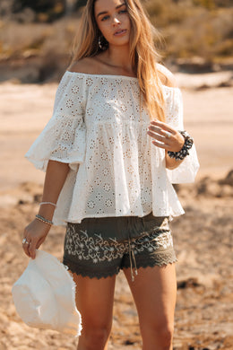 Lace Trim & Embroidery Shorts