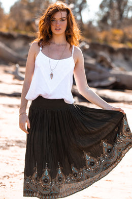 Ornate Print & Sequins Maxi Skirt