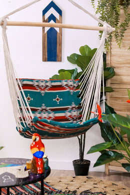 Teal Aztec Print Hammock Hanging Chair