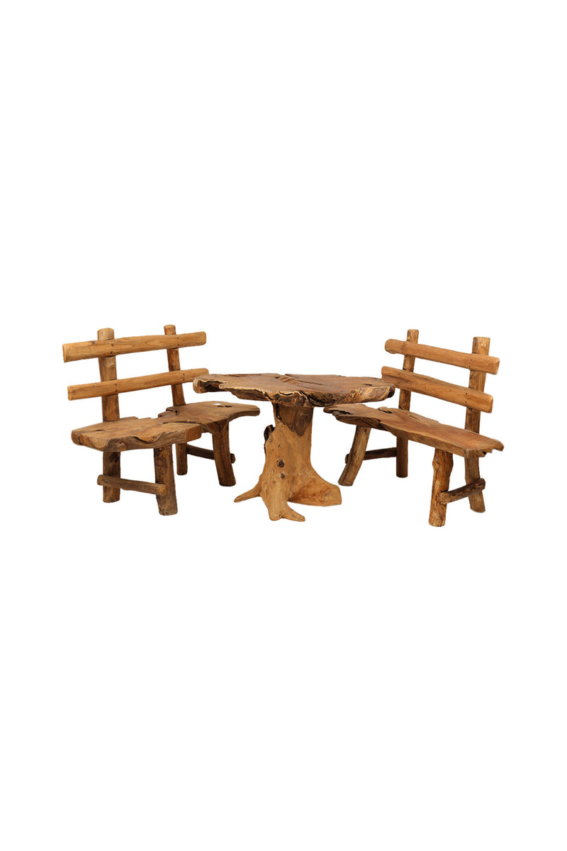 Teak Root Dining Table Setting & 2 Benches