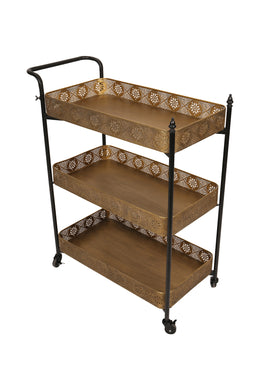 Iron Filigree Tiered Drinks Trolley