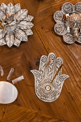 Hamsa Hand Aluminium Incense Holder