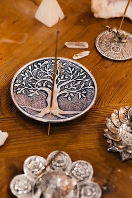 Round Aluminium Tree of Life Incense Plate