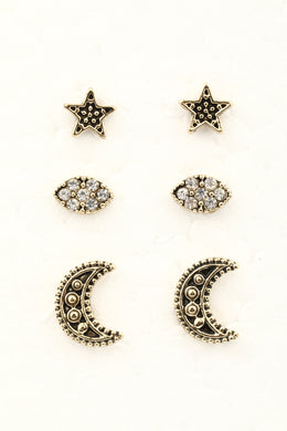 Pack of 3 Star & Moon Gold Stud Earrings