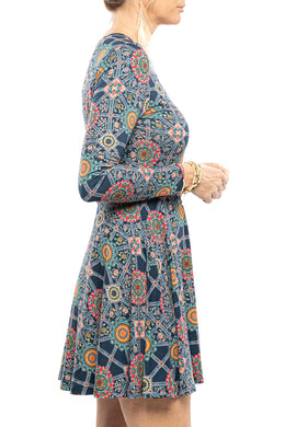 Flared Floral Mandala Dress