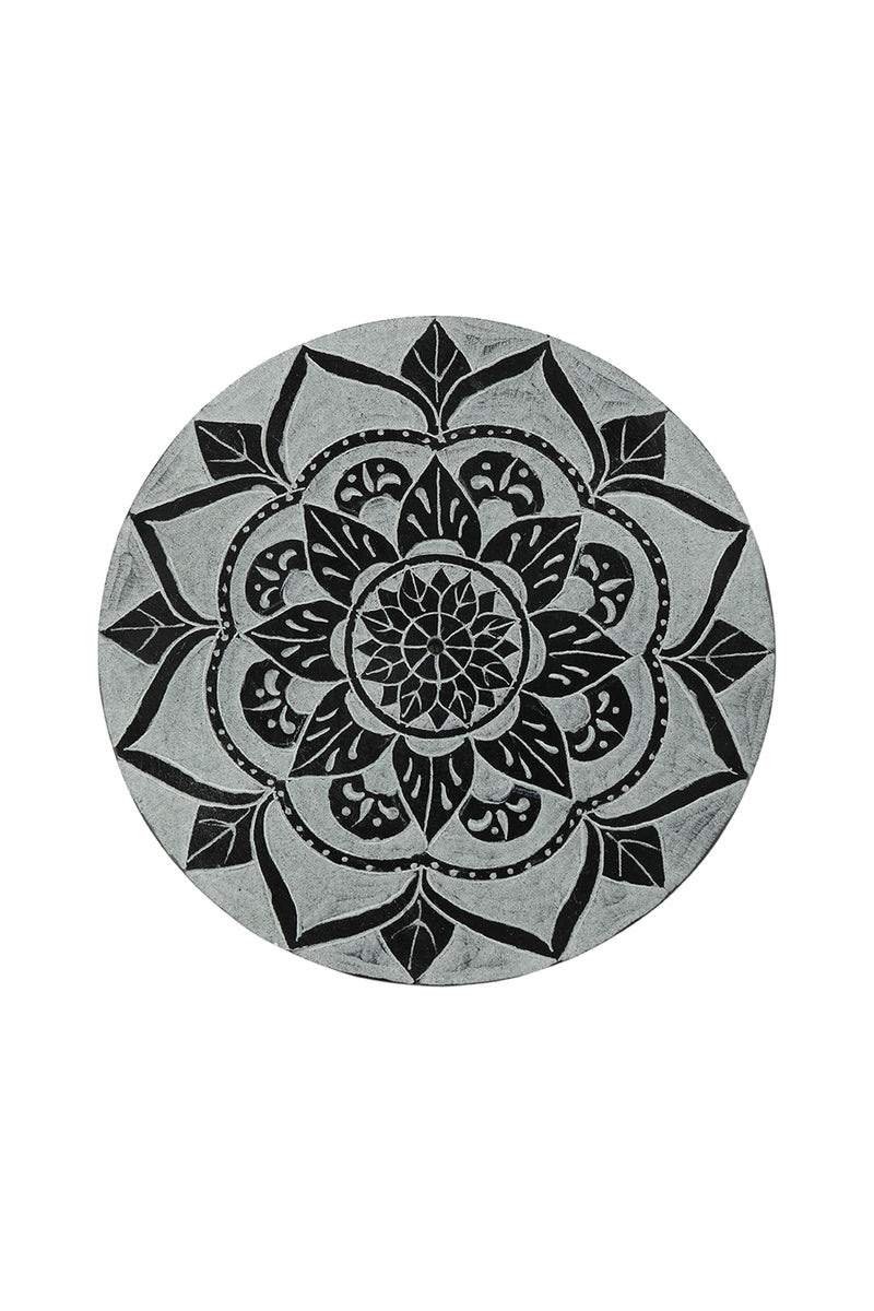 Black Mandala Carved Incense Plate